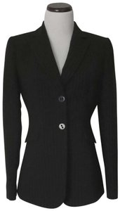 Tahari Flap Pockets Fit And Flare Fitted Black With White Pinstripes Blazer