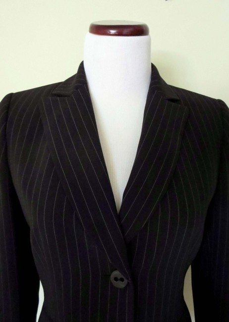 Tahari Flap Pockets Fit And Flare Fitted Black With White Pinstripes Blazer Image 1