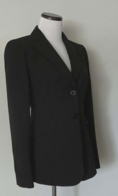 Tahari Flap Pockets Fit And Flare Fitted Black With White Pinstripes Blazer Image 2