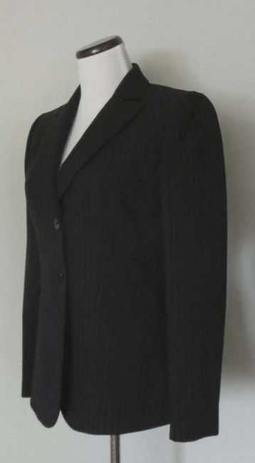 Tahari Flap Pockets Fit And Flare Fitted Black With White Pinstripes Blazer Image 3