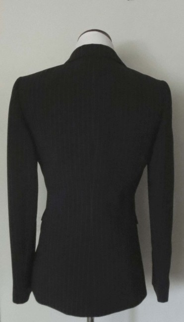 Tahari Flap Pockets Fit And Flare Fitted Black With White Pinstripes Blazer Image 4