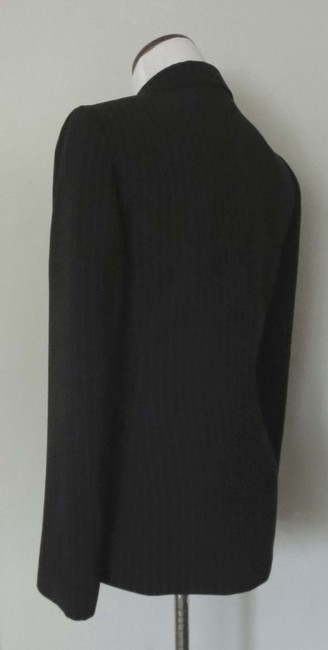 Tahari Flap Pockets Fit And Flare Fitted Black With White Pinstripes Blazer Image 5