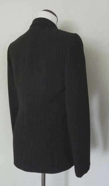 Tahari Flap Pockets Fit And Flare Fitted Black With White Pinstripes Blazer Image 6