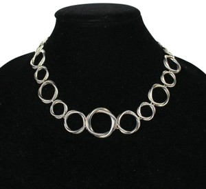 David Yurman Necklace Circle Crossover Links Chain Silver All Around