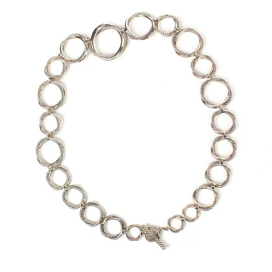 David Yurman Necklace Circle Crossover Links Chain Silver All Around Image 3
