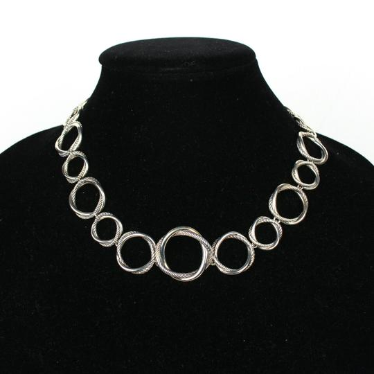 David Yurman Necklace Circle Crossover Links Chain Silver All Around Image 9