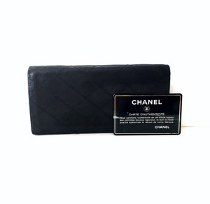 Chanel Chanel vintage black quilted leather bifold long wallet