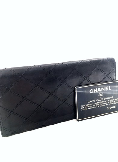 Chanel Chanel vintage black quilted leather bifold long wallet Image 1