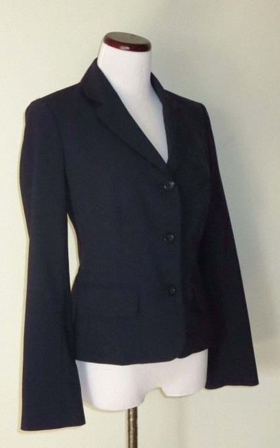 Victoria's Secret Fitted Flap Pockets Fully Lined Business Navy Blazer Image 2