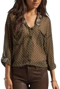 Free People Easy Rider Button Down Shirt Olive green
