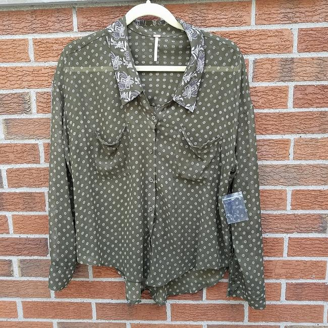 Free People Easy Rider Button Down Shirt Olive green Image 1