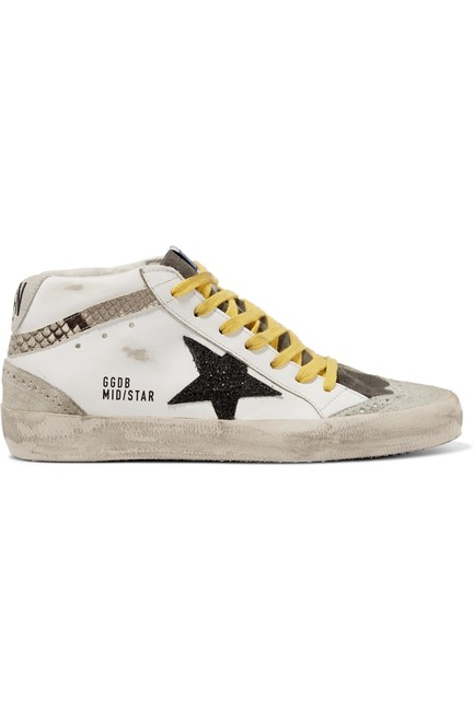 Item - Mid Star Distressed Glittered and Snake-effect Leather and Suede Sneak Sneakers Size EU 39 (Approx. US 9) Regular (M, B)