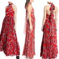 Fame and Partners Red Zora Chiffon Pleated Halter Maxi Long Formal Dress Size 8 (M) Fame and Partners Red Zora Chiffon Pleated Halter Maxi Long Formal Dress Size 8 (M) Image 5