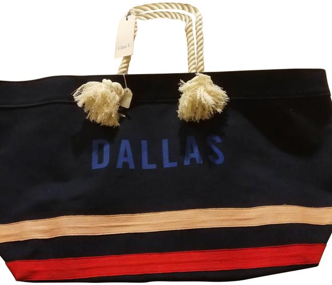 Item - Huge Tote with Rope Handles Blue White Flesh Red Canvas Weekend/Travel Bag