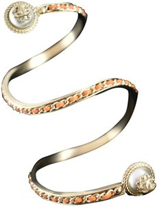 Chanel 18C Leather Gold Chain Pearl CC Wrap Around Arm Cuff Bracelet Small S