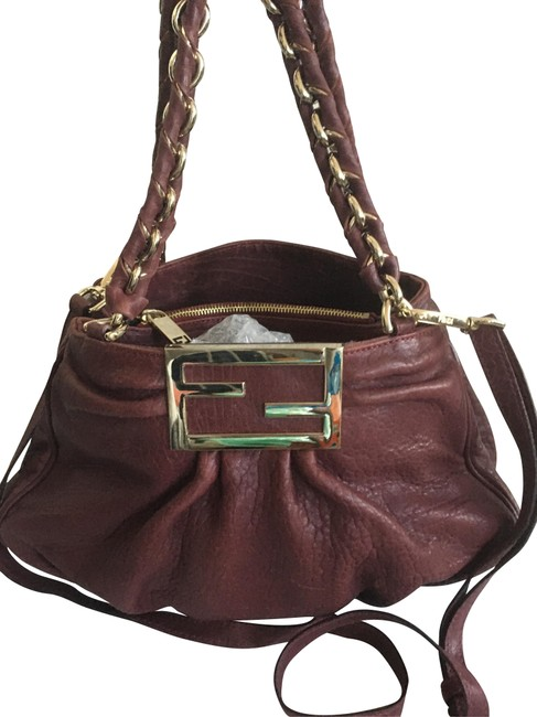 Item - Mia Small 2-way and 3 Pocket Burgundy Lambskin Leather Cross Body Bag