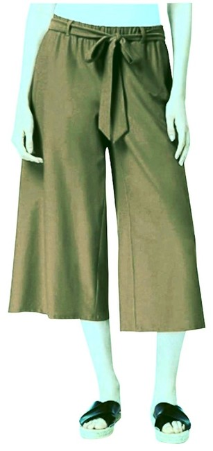"""Eileen Fisher Olive W """"Stretch Crepe Cropped (Culottes) W/Belt Pants Size 16 (XL, Plus 0x) Eileen Fisher Olive W """"Stretch Crepe Cropped (Culottes) W/Belt Pants Size 16 (XL, Plus 0x) Image 1"""