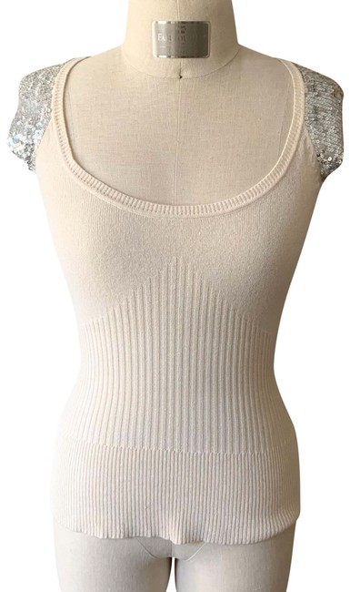 Item - Cream Sweater Knit Sequin Tank Top/Cami Size 8 (M)