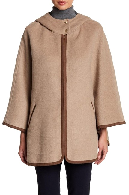 Item - Wheat Smoke Double Face Wool Blend Hooded Jacket Poncho/Cape Size 4 (S)