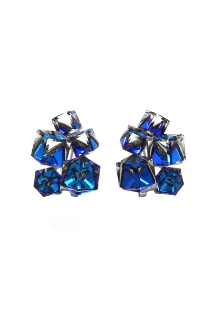 Ocean Fashion Blue Cube Crystal Earrings Ocean Fashion Blue Cube Crystal Earrings Image 1