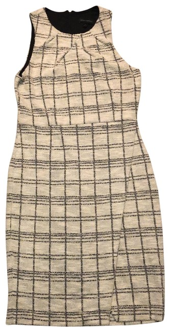Item - White with Black Tweed Sleeveless Mid-length Work/Office Dress Size 10 (M)