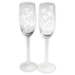 Clear Bluebirds Of Happiness Etched Toasting Flutes Tableware