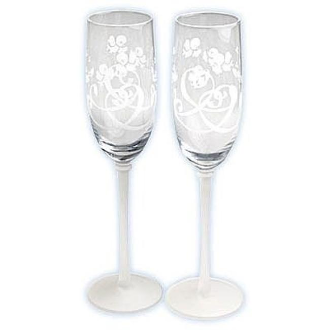 Item - Clear Bluebirds Of Happiness Etched Toasting Flutes Tableware