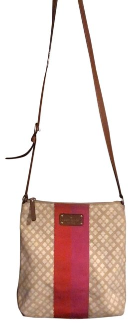 Item - Classic Victoria Tan Cream with Pink & Red Accent Stripe Canvas Messenger Bag