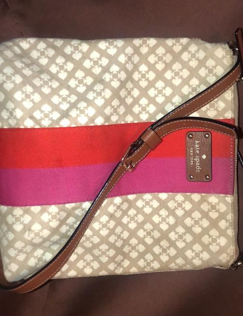 Kate Spade Classic Victoria Tan Cream with Pink & Red Accent Stripe Canvas Messenger Bag Kate Spade Classic Victoria Tan Cream with Pink & Red Accent Stripe Canvas Messenger Bag Image 12