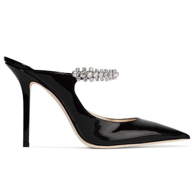 Item - Black Bing 100 Crystal Embellished Patent Leather Heels Mules Pumps Size EU 38.5 (Approx. US 8.5) Regular (M, B)
