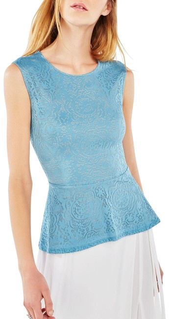 Item - Blue Bcbg Lyna Sleeveless Peplum Shirt Blouse Lace Tank Top/Cami Size 2 (XS)