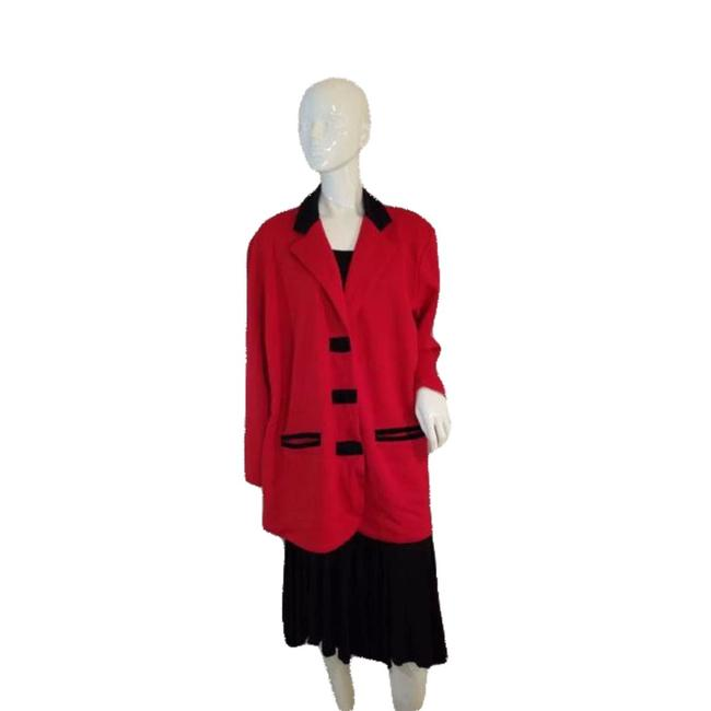 Item - Red And Black Long Sleeve Sweater Jacket 40-42 Blazer Size 14 (L)