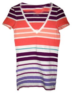 American Eagle Outfitters Striped V-neck T Shirt Multi Color
