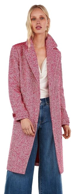 Item - Red Wool-blend Tie Front Belted Pink/Red Coat Size 8 (M)