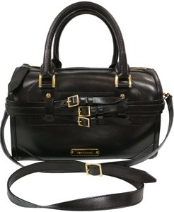 Burberry Alchester Boston Crossbody Leather Satchel in Black