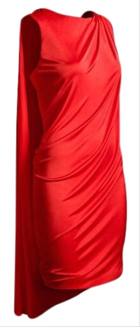 Item - Red Grecian Shift Toga with Cape Short Cocktail Dress Size 6 (S)