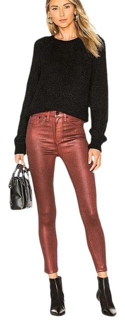 Item - Red Metallic Coated High Waist Ankle Skinny Jeans Size 0 (XS, 25)