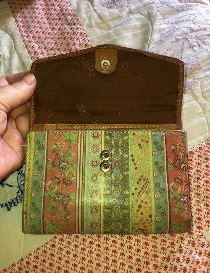 Fossil Striped Leather & Brown Trifold Wallet Image 2