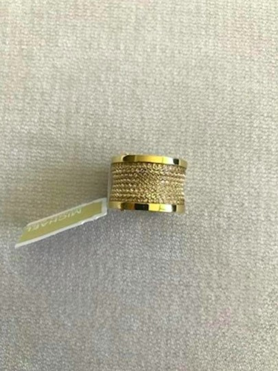 Michael Kors Michael Kors Gold Pave Thick Barrel Ring Paave Size 7 Image 2