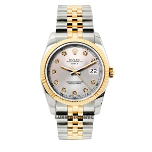ROLEX 34mm date gold & stainless steel 2tone with box & appraisal
