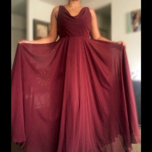 Jenny Yoo Burgundy Chiffon Formal Bridesmaid/Mob Dress Size 14 (L)