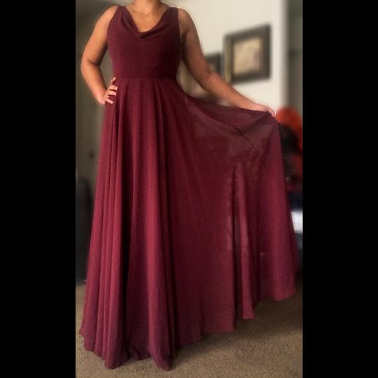 Jenny Yoo Burgundy Chiffon Formal Bridesmaid/Mob Dress Size 14 (L) Image 2
