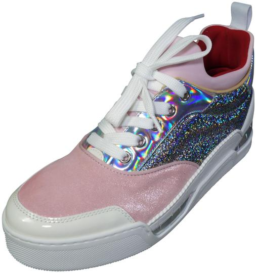 Preload https://img-static.tradesy.com/item/26304333/christian-louboutin-pink-white-metallic-silver-aurelien-donna-lace-up-sneakers-sport-new-flats-size-0-1-540-540.jpg