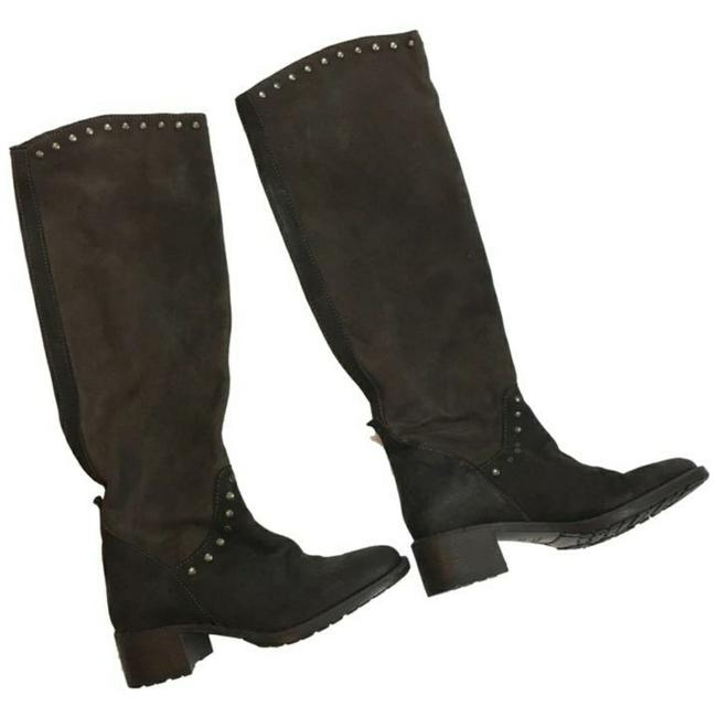 Item - Deep Brown Studded Suede Tall Boots/Booties Size US 6 Regular (M, B)