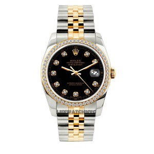 ROLEX 1.5ct 36mm Men's Datejust 2tone WITH BOX & Appraisal