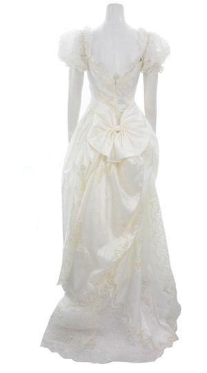 Alfred Angelo White Beaded & Sequined with Sheer Veil Formal Wedding Dress Size 10 (M) Image 1
