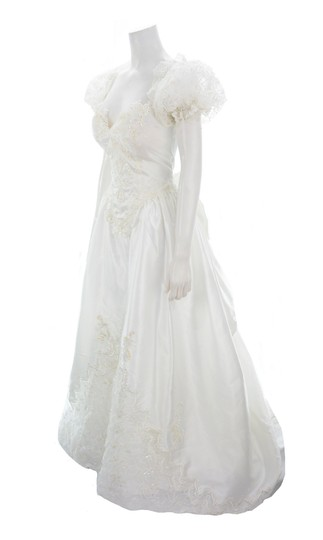 Alfred Angelo White Beaded & Sequined with Sheer Veil Formal Wedding Dress Size 10 (M) Image 2