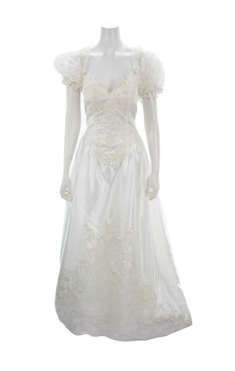 Alfred Angelo White Beaded & Sequined with Sheer Veil Formal Wedding Dress Size 10 (M) Image 3