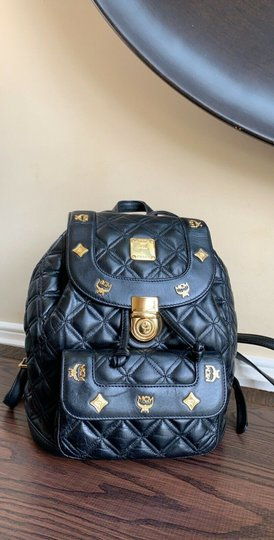 MCM Quilted Leather Studded Backpack Image 6