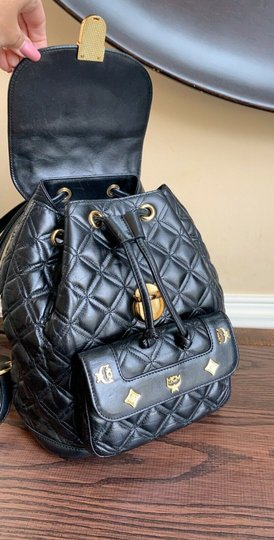 MCM Quilted Leather Studded Backpack Image 7